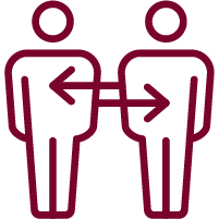 icon of 2 people with arrows pointing to each